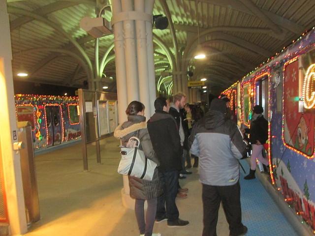 Two holiday trains at Oakton-Skokie station