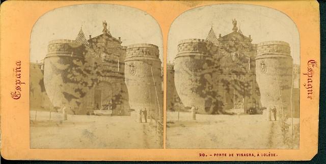 Fotografía Estereoscópica de Lamy. Puerta de Bisagra