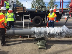 LADWP Earthquake Resistant Pipes Installation for Drinking Water around Northridge Hospital 1.16.15  - Councilmember Mitchell Englander