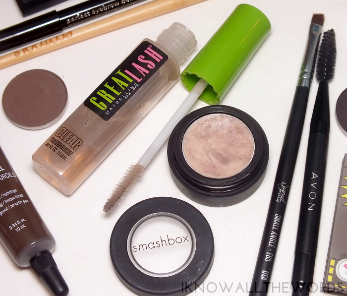 power brows- maybelline great lash clear smashbox brow tech wax