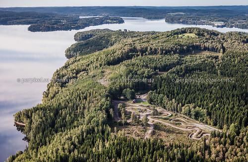 sverige swe västragötaland flygfoto bratterud motorbana skåpafors skåpenäs