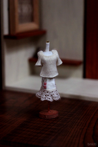 hand knitted sweater for miniature mannequin