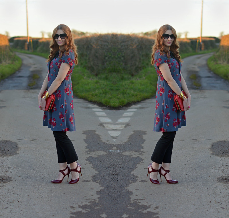 Valentine's Day date night outfit - rose patterned dress over cropped trousers