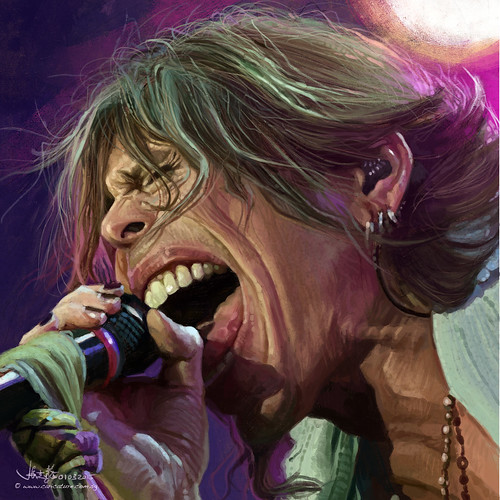 digital caricature sketch of Steven Tyler