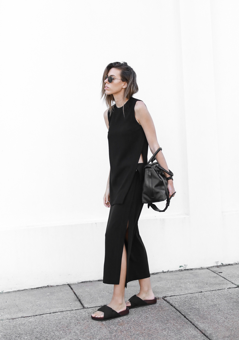 modern legacy, fashion blog, street style, all black, Celine, slide sandals, split skirt, Alexander Wang, tote, bag (1 of 1)