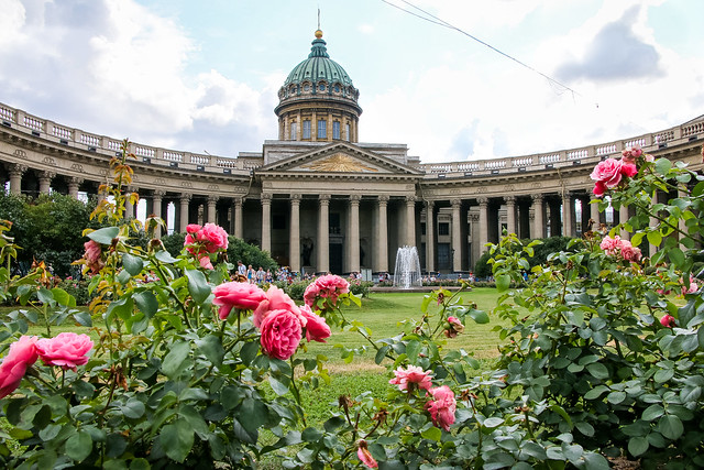 Roses in the garden of Kazan Cathedral, Saint Petersburg, Russia サンクトペテルブルク、カザン聖堂の庭園に咲くバラ