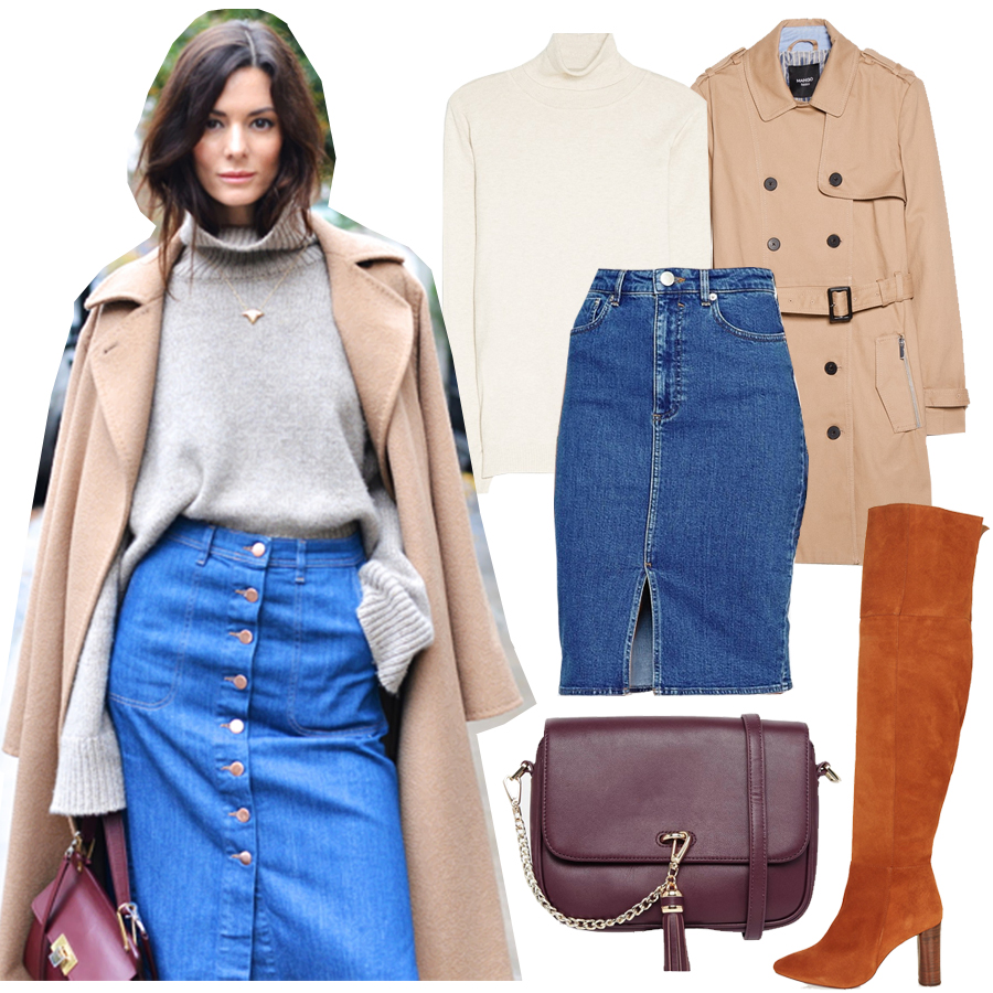how-to-wear-denim-skirt-turtleneck-outfit-street-style