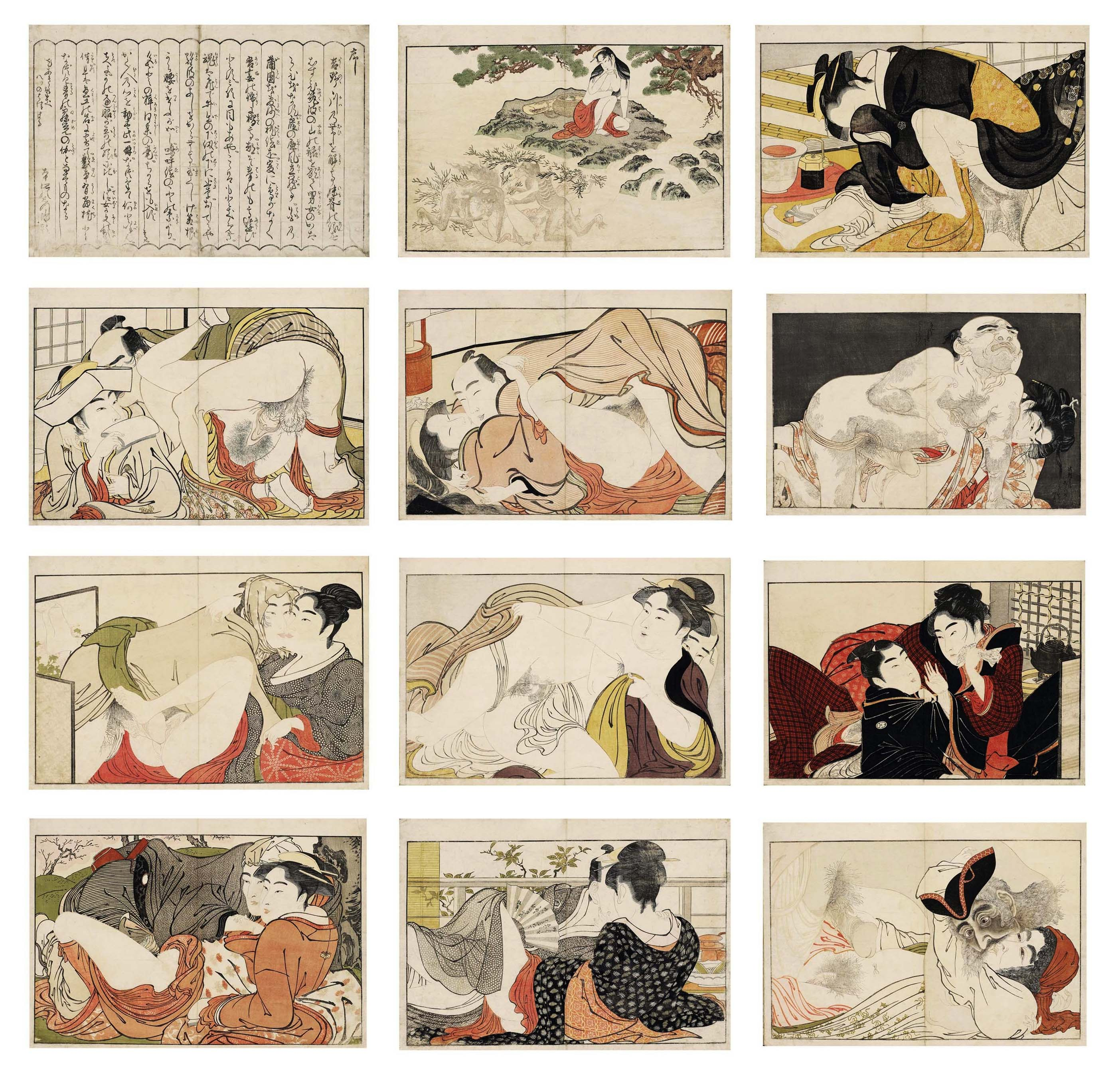 Kitagawa Utamaro, Utamakuru, Poem of the Pillow, Gedicht der Kissen. Ukiyo-e Shunga, 1788