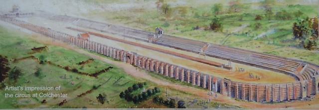 Artist's impression of the Roman Circus of Camulodunum, Colchester (UK)