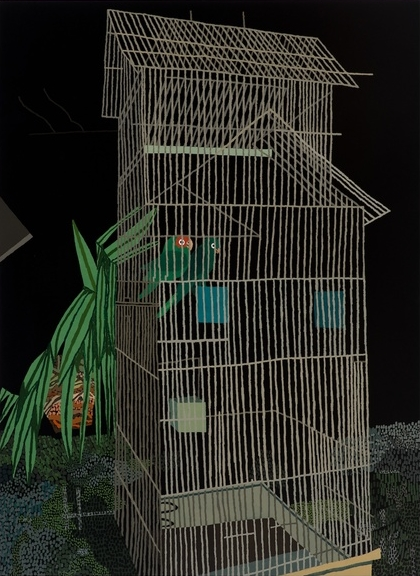 Jonas Wood, 2 Birds at Night, 2013