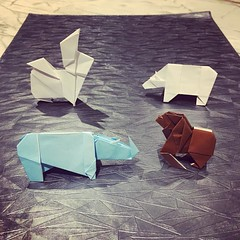 #origami #animals designed by @joseph_wu_origami . I am going to teach two or three tomorrow. Diagrams for all but the rabbit are free on the WWF website.