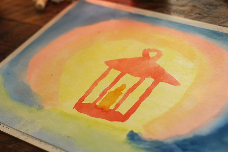K's wet on wet watercolor lantern painting (Waldorf homeschool)