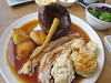 Roast Pork Belly, Yorkshire Pud, Potatoes, Lots of Veg, Gravy All Over