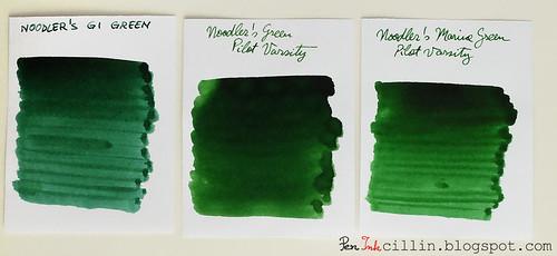 Noodler's GI Green vs Green vs Marine Green