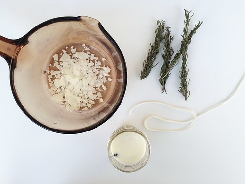 diy rosemary scented soy wax candles