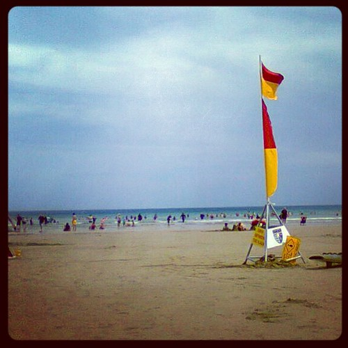 Ocean Grove beach this afternoon before the cool change. Boogie-boarding heaven.