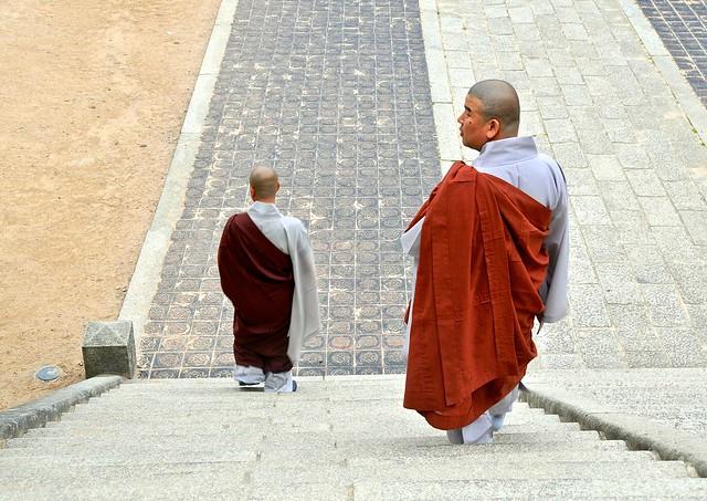 Monks descending stairs