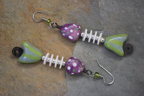 Whimsical Porcelain Bead Fish Earring Set E-0213