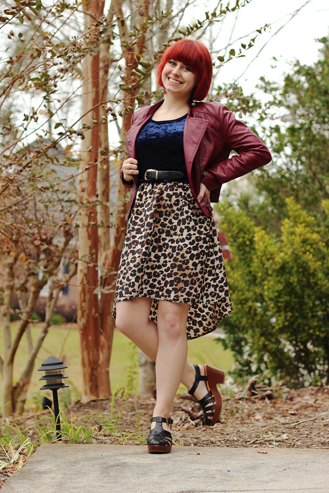 Burgundy Leather Jacket, Crushed Velvet Crop Top, Leopard High-Low Skirt