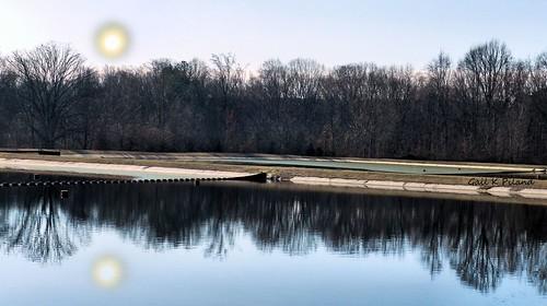 trees moon reflection water pond digitalart gailpiland