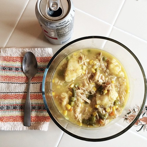 I have been thinking about these leftover chicken and dumplings for two days and have been very thankful no one got to them before now.
