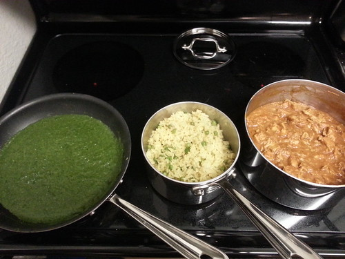 Butter chicken, curry turmeric rice and peas, saag paneer (without the paneer)