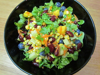 Corn, Red Bean, and Blueberry Salad with Mango and Dressing