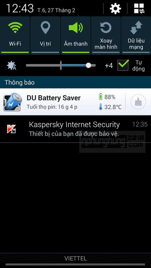 Thanh thông báo trạng thái DU Battery Saver