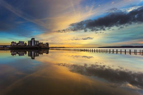 sunset sea lake reflection pool reflections island bay marine mare view super weston causeway knightstone pixelsuzy