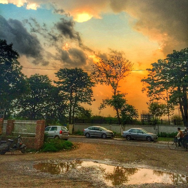 Rain Clouds Weather Evening Cars Road Sunset Trees