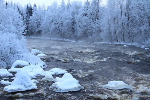 winter cold fog canon suomi finland haze stream frost january rapids 7d talvi vesi tammikuu glacial laukaa usva sumu koski kylmä virta pakkanen kuura äänekoski kapeenkoski kuusaankoski hyinen juhanianttonen ef1635l28iiusm