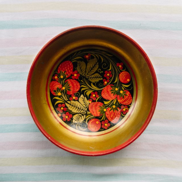 vintage bowl painted with flowers and strawberries