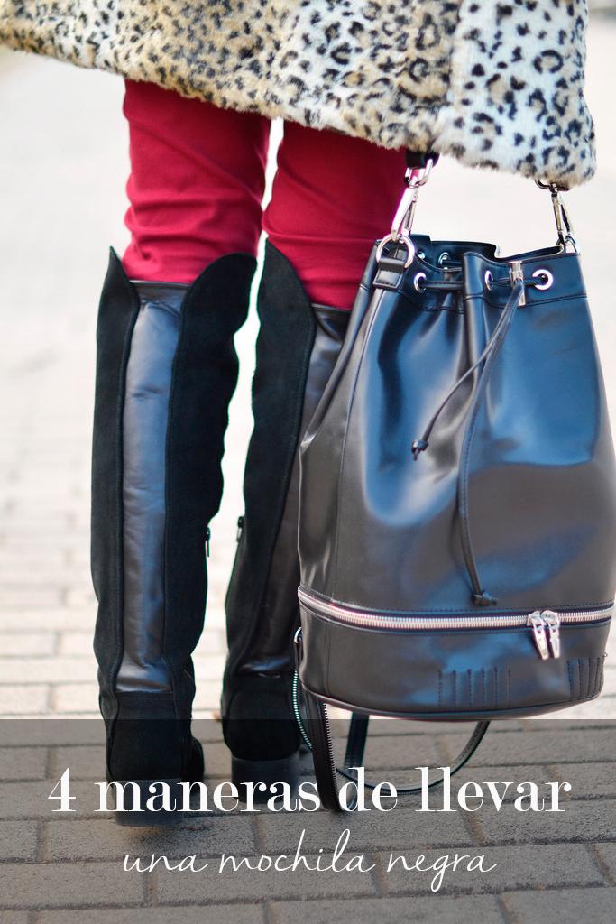 4 maneras de llevar una mochila negra