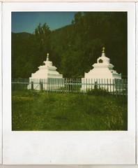 Old Polaroid photo of Buddhist stupa in the Buddhist temple.