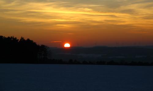 coucher de soleil à Maxey