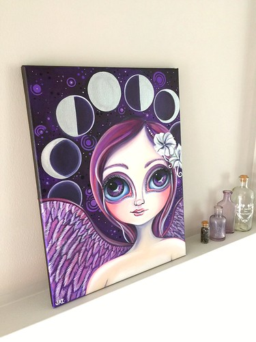 """Moon Phase Angel"" original painting by Jaz Higgins - Side View"