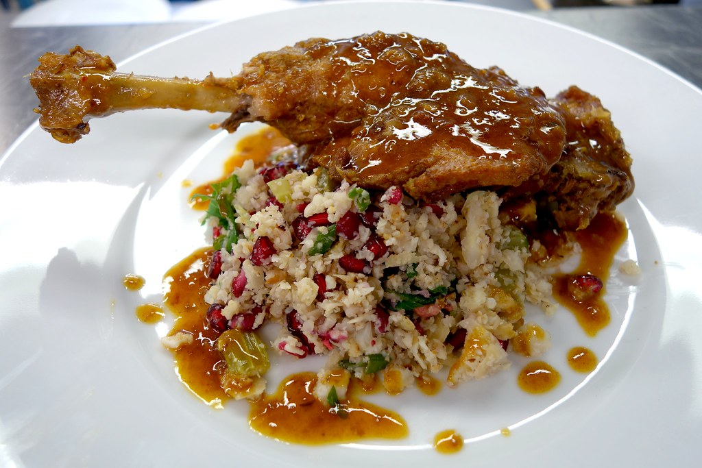 Gluten free spiced duck with cauliflower couscous