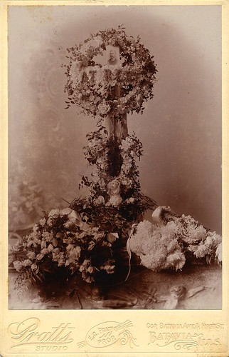"""""""At Rest"""" Funeral Flowers with Photo of Deceased, Albumen Cabinet Card, Circa 1895"""