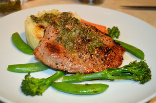 Marinated Pork Chop, Verde Sauce & Greens