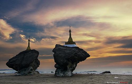 sunset beach atardecer pagoda burma playa myanmar birmania ngwesaung bitramone
