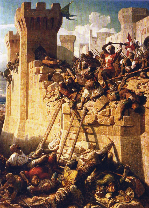 The Hospitalier Matthieu de Clermont defending the walls at the Siege of Acre by Dominique Papety