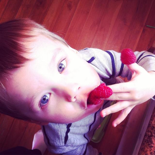 Raspberry fingertips