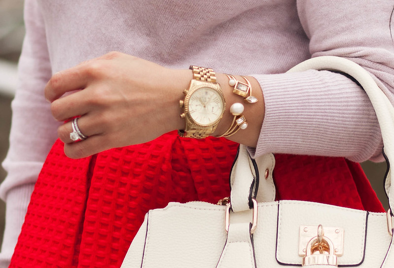cute & little blog   petite fashion   pink cowl sweater, sheinside red paid midi, ann taylor bangle bracelet stack #armparty
