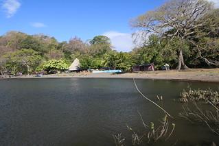 Our shaded little campsite.  Hotel El Tesoro Del Pirata.  Ometepe, Nicaragua.