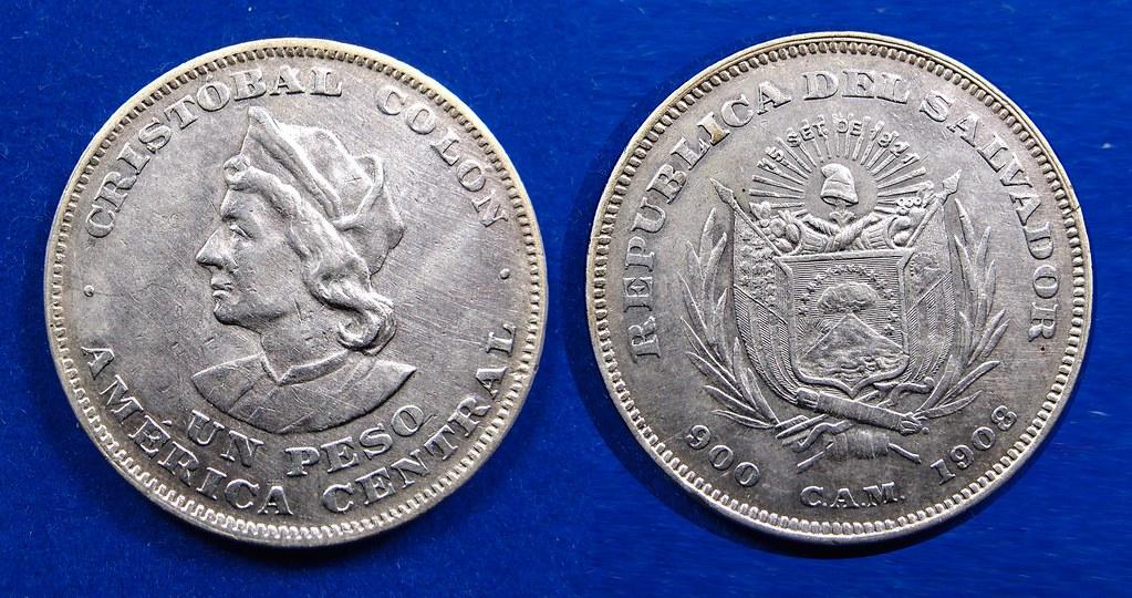 EL SALVADOR, COLON 1908C.A.M. - 1 PESO  16706927192_0d0a168f96_b