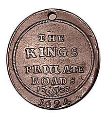 Kings Private Roads token 1737 obverse