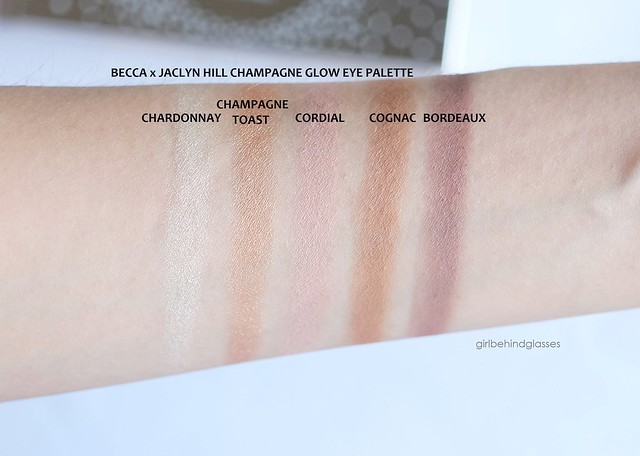 Becca x Jaclyn Hill Champagne Glow Eye Palette swatches