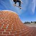 Tom Kirkby, air over the bricks at Cardiff Plaza.