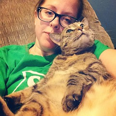 I can't get up but I love it #thankful #catladyproblems