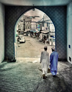 Framed by the unexpected; leaving the mosque in Seoul's Itaewon district...
